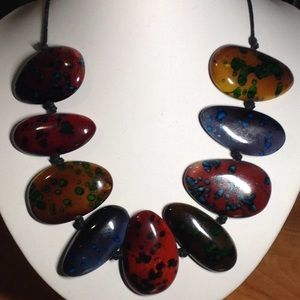 ARTISAN NECKLACE-hand painted stones/black leather